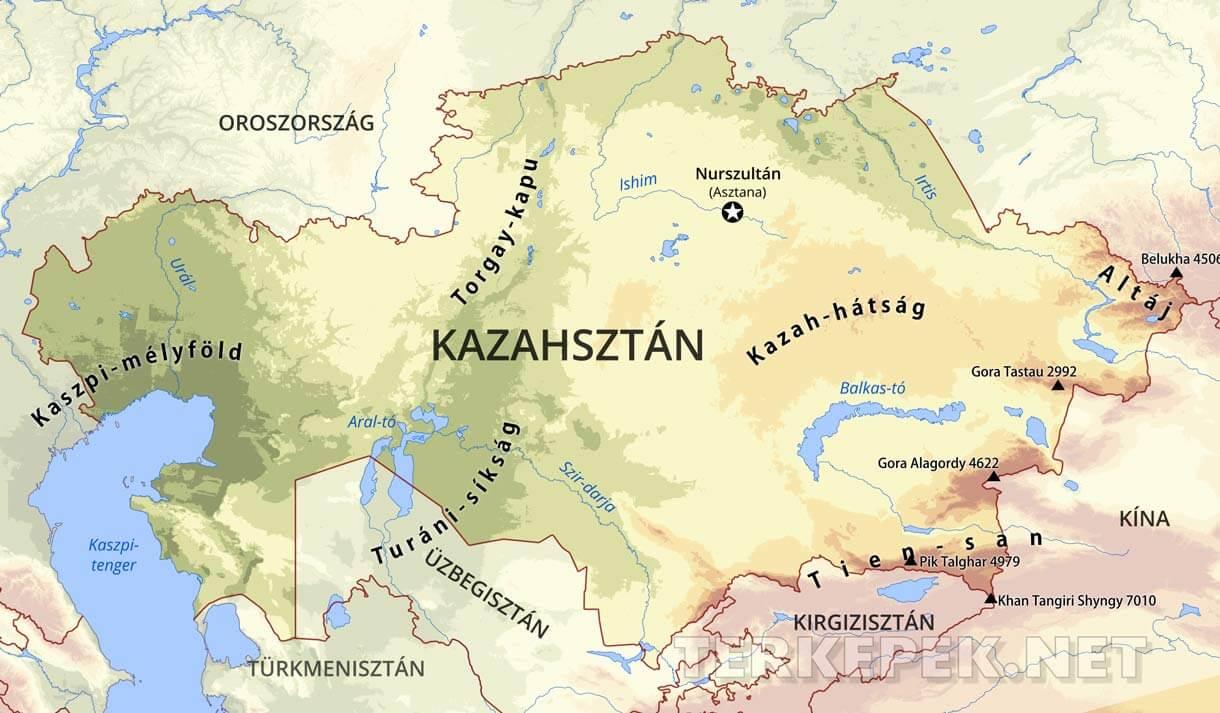 kazahsztán térkép Kazahsztán domborzati térképe kazahsztán térkép